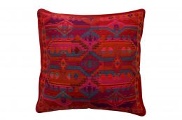 Jacquard woven cotton cushion cover - red