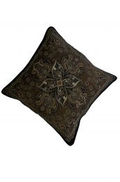 Jacquard woven cotton cushion cover - brown