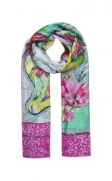 Pink framed scarf with flowers design