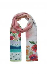 Apricot colored soft scarf with flowers and border print