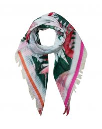 Square scarf Flamingo garden with flowers and leaves
