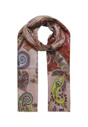 decent scarf in pink with colorful paisley print