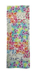 Fine elegant scarf with different flowers print in very colorfull colors like pink orange, blue and green