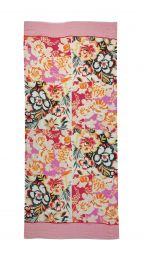 Fine scarf with Flowerprint in pink, rose and black colors with rose borders at both sides.