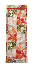 Fine scarf with big flowers as tile print in summer colors red, yellow and orange.