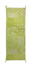 Fine Scarf with natural feeling in ethnoprint  in green and white colors and decorated with tassels