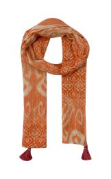 Fine Scarf with natural feeling in ikatprint  in orange and white colors and decorated with tassels