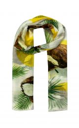 Fine soft scarf with coconut prints allover based on white