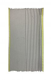 Crashed scarf with fringes and grey and white thin and broad  stripes and yellow borders at both sides