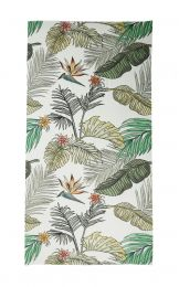 Fine scarf with jungle print as  big leaves and flowers in green, khaki, black and white colorway,