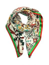 Big square scarf with colorful different  tiles design and decorated with green and red satin band all around.