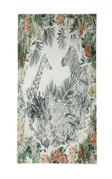 Fine scarf with safari print like giraffe, zebra and leopard framed with leaves and flowers  in green grey and red.