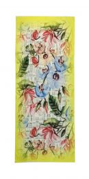 Fine scarf with colorful orchid and leaves print framed in yellow border.