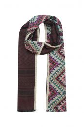Modal-Cotton-Wool scarf in dark colors with different patterns - Elegant mix