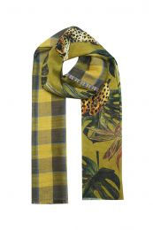 Tropical leaves and leopard print combined with check design