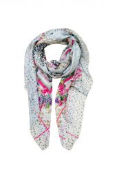 Square Printed scarf with Cheetahs lost in flowers paradise
