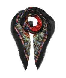 Black elegance Classic scarf design with ornaments and paisleys