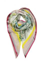 Square scarf in Tropical print with leaves and birds Framed with satin band in pink and grey