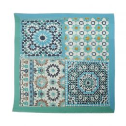 Square Maroccan Style scarf in several tile prints in turqoise green and marine colors
