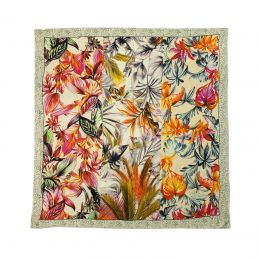 Elegant squared Silkscarf with orange and red leaves framed with leoprad animal printed border in grey and white.