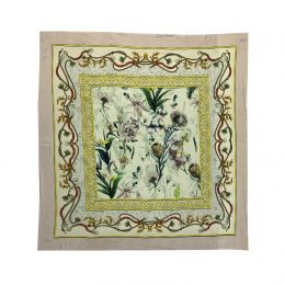 Elegant fine square scarf in silk with flowers and chainprint in pastel colors beige, yellow and green.