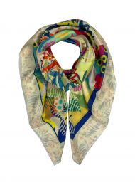 Elegant fine square scarf in silk with flowers and leaves framed with white border all around