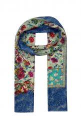 Elegant fine scarf  with pink flower print in the middle , small border with minimal flowerprint in turqoise and grey and finaly framed with blue animalprint