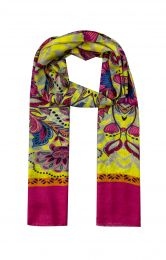 Elegant silk scarf in pink and yellow   flowersprint and pink borders at both sides