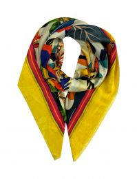 Elegant fine square scarf in silk with flowers and leaves framed with yellow border all around