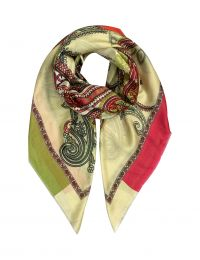 Elegant fine squared scarf in silk with paisleys and ornaments in rose and lemongreen colors based on beige with rose and green and beige border