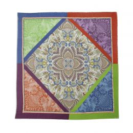 Square scarf with colorfull ornaments and flowers framed with colorful borders as orange pink green and blue and decorated with woven band