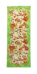 Fine elegant silkscarf with powerfull red flowers framed with green border