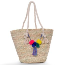 Large basket bag made of straw