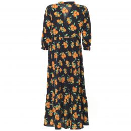 Black long dress with fruitprint