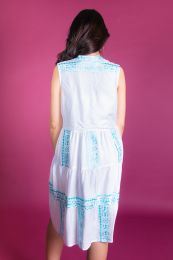White Tiered dress with ethno embroidery
