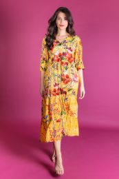 Yellow Viscose dress with summerflowers