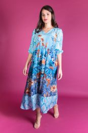 Blue Viscose dress with flowerprint