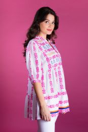 Tiered blouse in ikat woven fabric in pink