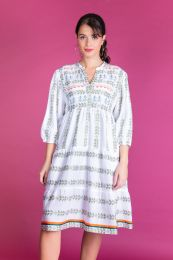 Tiered dress in Ikat woven fabric in green
