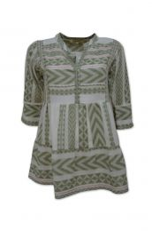 Tiered blouse in ikat woven fabric in khaki