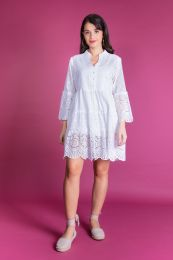 white dress in hole embroidery fabric