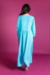 Long dress in turquoise with embroidery