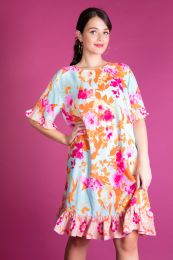 Dress in turquoise with pink flowers