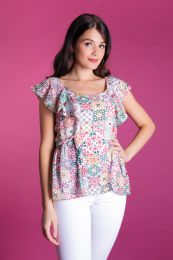 Tile printed blouse