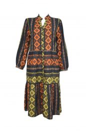 Tiered long dress with Ikat woven design