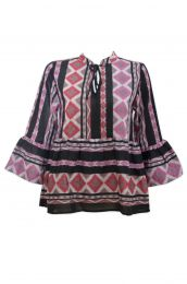 Tiered blouse with ikat woven design