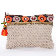 Clutch bag made of cotton with playful details