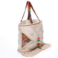 Handbag (shopper) made of cotton with fringes