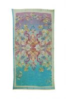 Aqua and pink colored shawl with beautiful Baroque print