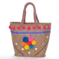 Wicker straw bag with mirror decoration